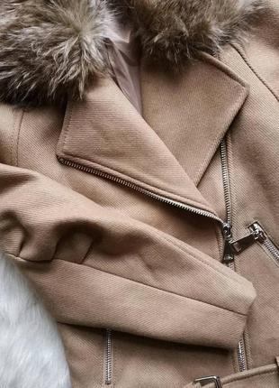 Пальто косуха с поясом с мехом теплая h&m studio4