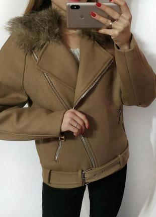 Пальто косуха с поясом с мехом теплая h&m studio2