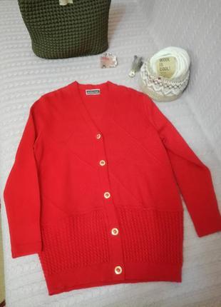 Красивая теплая красная шерстяная (merino wool) кофта кардиган creanic
