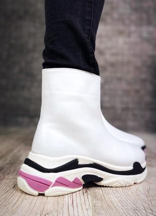 Кожаные зимние ботинки флэтформы на модной подошве в стиле b@lenciaga. 36-405