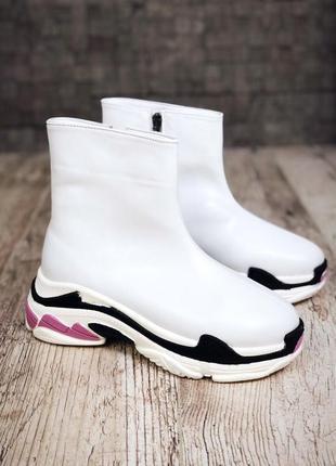 Кожаные зимние ботинки флэтформы на модной подошве в стиле b@lenciaga. 36-401