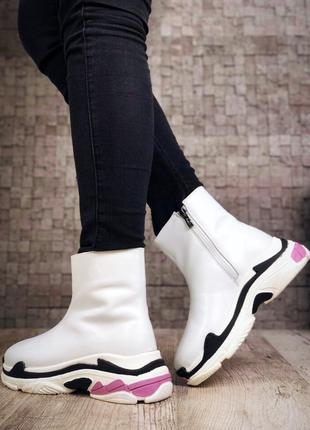Кожаные зимние ботинки флэтформы на модной подошве в стиле b@lenciaga. 36-402