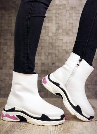 Кожаные зимние ботинки флэтформы на модной подошве в стиле b@lenciaga. 36-403