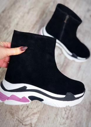 Замшевые зимние ботинки флэтформы на модной подошве в стиле b@lenciaga. 36-402