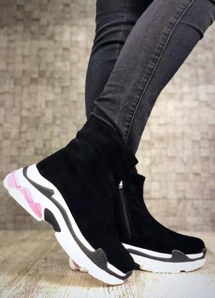 Замшевые зимние ботинки флэтформы на модной подошве в стиле b@lenciaga. 36-403