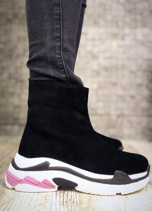 Замшевые зимние ботинки флэтформы на модной подошве в стиле b@lenciaga. 36-404