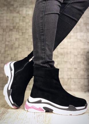 Замшевые зимние ботинки флэтформы на модной подошве в стиле b@lenciaga. 36-405