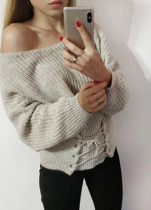 Свитер со шнуровкой вязаный свитер с корсетом бежевый1
