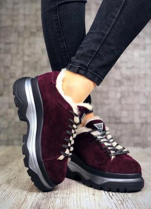 Замшевые зимние кроссовки на меху в стиле guess. 36-404