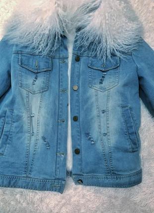 Джинсовая куртка джинсовка с мехом мех