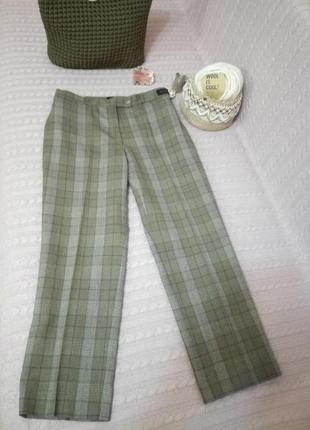 Актуальные шерстяные (woolmark) укороченные брюки в клетку brax