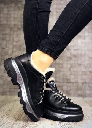 Кожаные зимние кроссовки на меху в стиле guess. 36-405