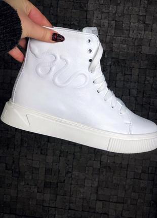 Кожаные зимние ботинки кроссовки кеды на меху. 36-402
