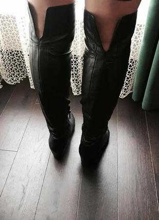 Кожаные ботфорты, сапоги чулки, сапожки, кожа.