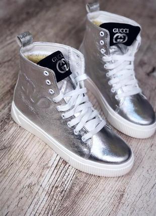 Кожаные зимние ботинки кроссовки кеды на меху. 36-401