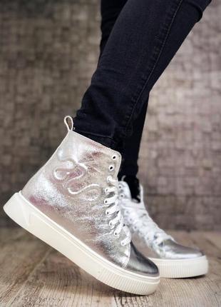 Кожаные зимние ботинки кроссовки кеды на меху. 36-405