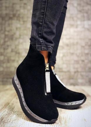 Замшевые зимние ботинки полусапожки на платформе с молнией спереди. 36-404