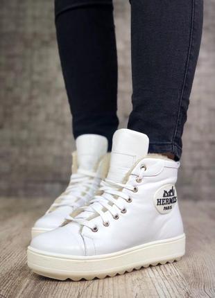 Кожаные зимние ботинки кеды на шнурках в стиле hermes в спортивном стиле. 36-405