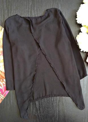 Классическая черная блуза с красивой спинкой4