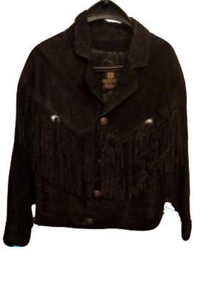 Винтажная замшевая куртка в стиле вестерн с длинной бахромой от byrnes&baker
