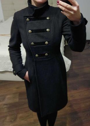 Пальто двубортное милитари