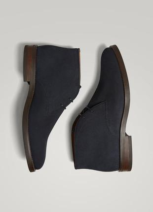 Синие замшевые ботинки 28,5 см. massimo dutti 44 р.