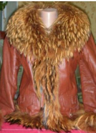 Рыжая кожаная зимняя куртка