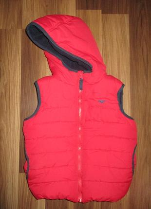 Красная тепленькая жилеточка с капюшончиком фирмы blue zoo на 3-4 года