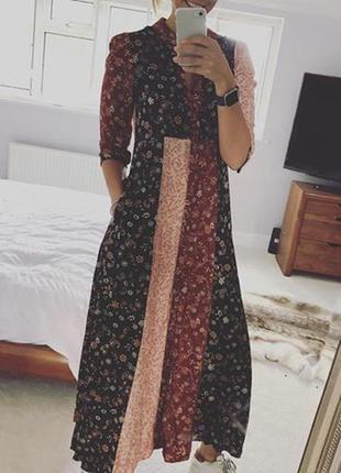 Длинное макси платье в пол в мелкий цветочный принт от zara