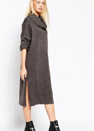 Шерстяное платье с горловиной, теплое платье миди оверсайз