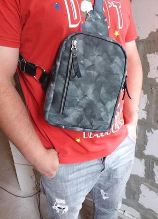 Натуральная кожа. сумка слинг, мини рюкзак, кроссбоди, сумка через плечо,  мужская сумка