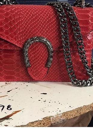 Отличная кожаная итальянская сумочка под рептилию