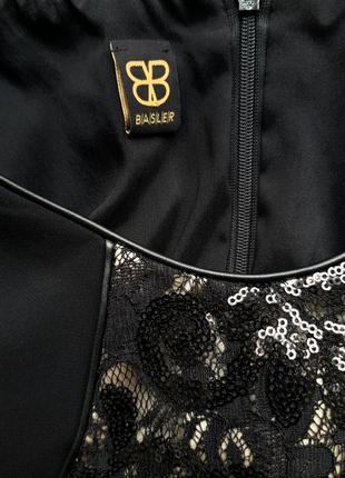 Платье нарядное basler праздничное гипюр вставки кожзам красивое