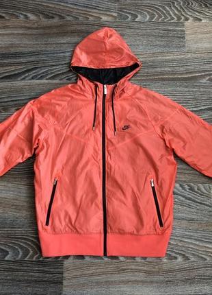 Оригинал оранжево-розовая ветровка дождевик спортивная плащевка куртка олимпийка найк nike