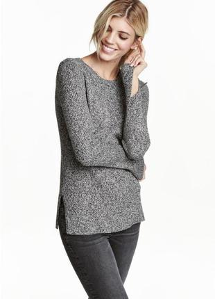 Свитер джемпер реглан лонгслив кофта пуловер меланж серый с разрезами новый oversize