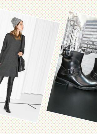 Зимние ботинки из натуральной кожи европейского бренда m&d черные, р. 36, 38, 39, 40