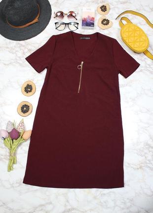 Обнова! платье прямого кроя марсал бордо atmospherе с замком-молнией