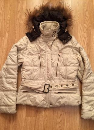 Фирменная теплая куртка junker  с натуральным мехом,курточка (осень/весна)+подарок ремень
