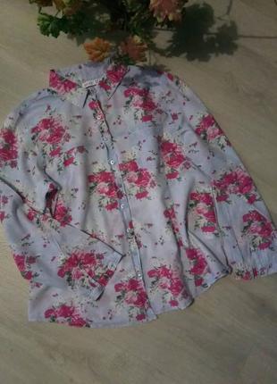 Брендовая рубашка цветочный принт denim co