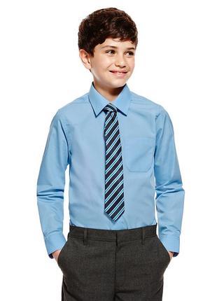 Школьная голубая рубашка на мальчика на 10-11 лет