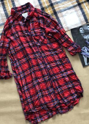 Плаття-рубашка в клітинку червоного кольору