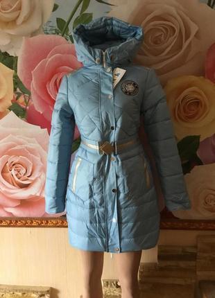 Стильное подростковое зимнее пальто для девочек на рост 146,152