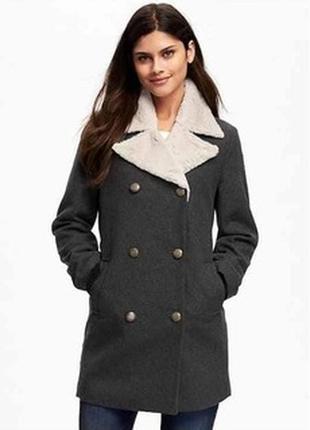 Серое демисезонное пальто old navy gap xs s размер xs-s