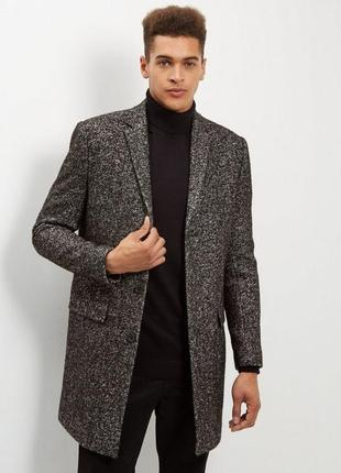 Стильное шерстяное мужское пальто тёплое классическое длинное