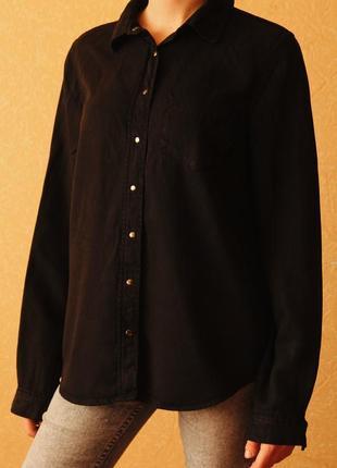 Плотная черная рубашка new look