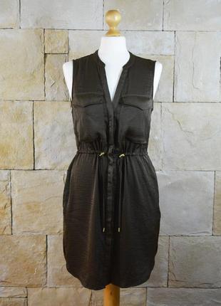 Акция 1+1=3! атласное платье на молнии h&m с карманами