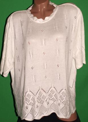 Приятная шелковистая блуза, ажурная вязка,на 58-60 укр, пог 69 поб 72, тянется
