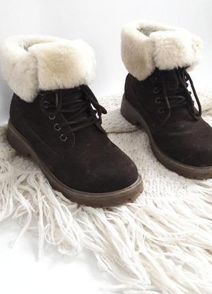 Натуральные замшевые ботинки с мехом