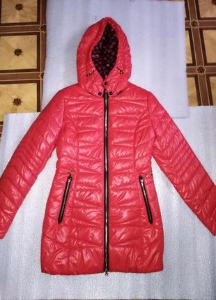 Куртка красная пуховик длинная зимняя осень на подростка