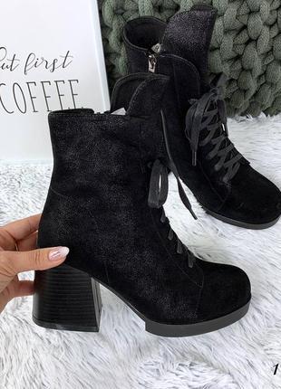 Ботинки зимние на невысоком устойчивом каблуке. размеры с 36 по 40